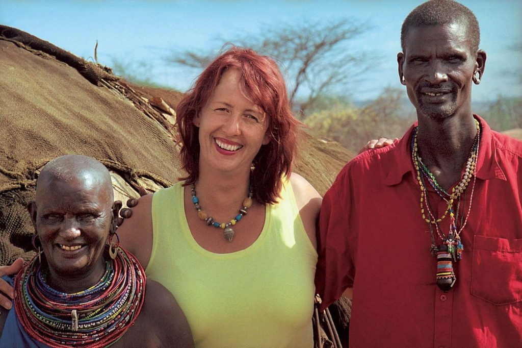 Weisse-Massai-corinne hofmann with lketinga and mama in reusion in barsaloi